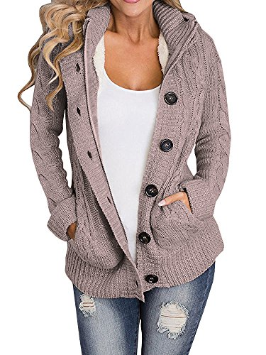 ecef14aa2aebd2 Ermonn Women Unisex Zipper Button Down Knitted Sweater Cardigans Hooded  Jackets